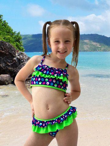 Girls Swimsuit Colorful Polka Dot Ruffle Tankini W