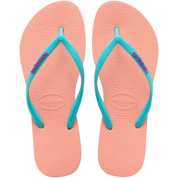 Havaianas Light Pink Flip Flops With Turquoise Strap And Violet Logo -... found on Polyvore featuring shoes, sandals, flip flops, rubber shoes, havaianas, rubber flip flops, havaianas shoes and slim shoes