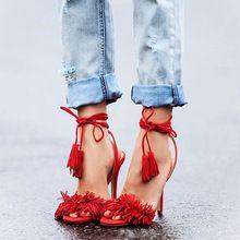 2016 kadın püskül deri bandaj ince topuklu koyun derisi yüksek topuklu sandaletler yüksek topuklu sandaletler bayan ayakkabıları t16003 (Çin (Anakara))