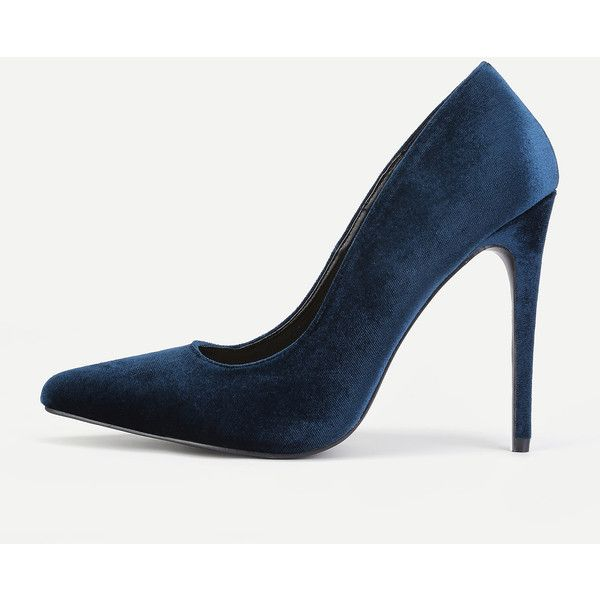 SheIn(sheinside) Pointed Toe Stiletto Heels (550 EGP) ❤ liked on Polyvore featuring shoes, pumps, navy, navy blue high heel shoes, navy blue high heel pumps, stilettos shoes, heels stilettos and navy pumps