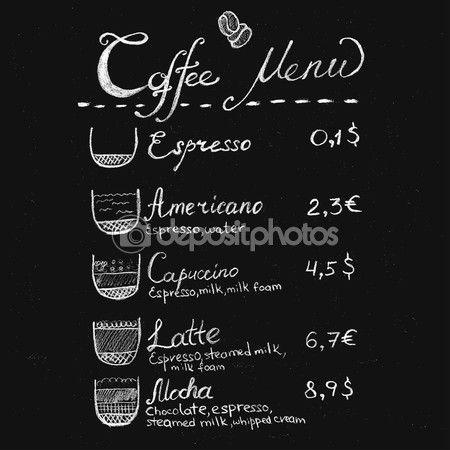 Yükle - Kahve menü yazı tebeşir — Stok İllüstrasyon #70836097
