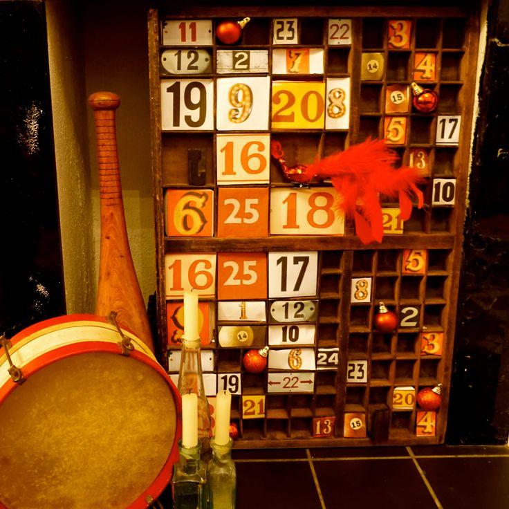 DIY advent calendar made from a printers tray. #whitespacesdesign http://www.whitespacesdesign.com