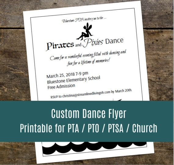 Super cute idea for a Daddy - Daughter dance: Pirates and Pixies.  Love this done for you flyer!