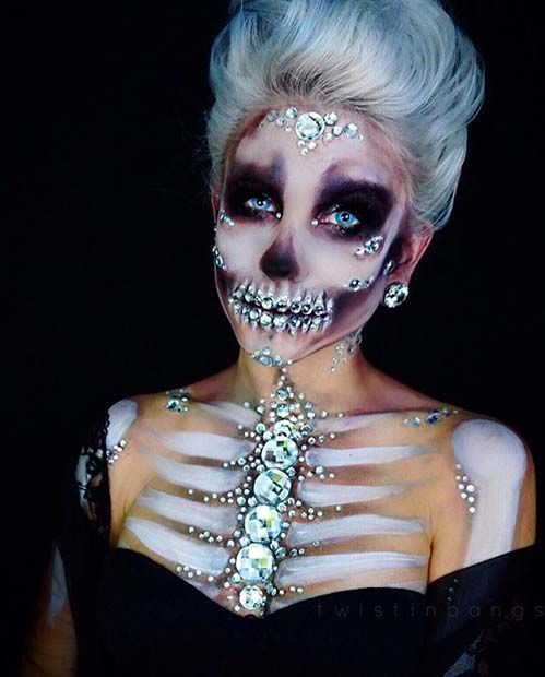 Sparkling Skeleton DIY Halloween Makeup Idea for Women - - http://makeupaccesory.com/sparkling-skeleton-diy-halloween-makeup-idea-for-women/
