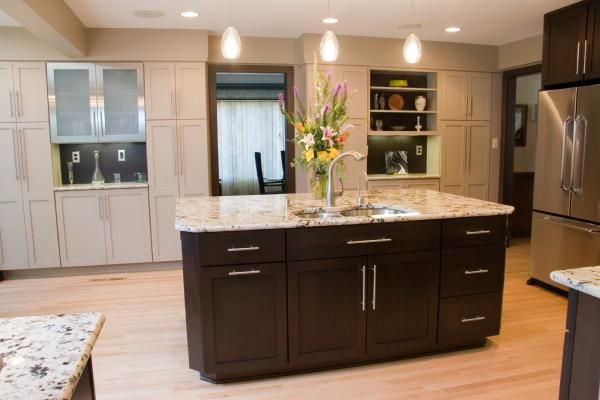 espresso kitchen island kitchens kitchens island granite countertops 3596