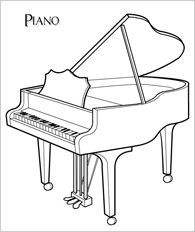 This website has free coloring pages for flute, piano, guitar, harp, and violin.