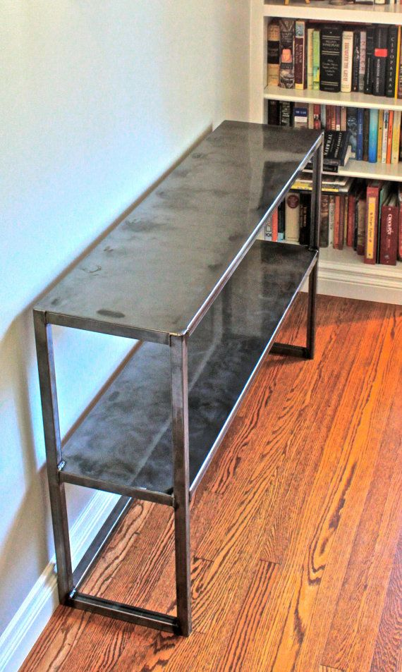 Convina natural steel table with clear coat finish by craftmetalworks home stuff - Cb industry chair ...