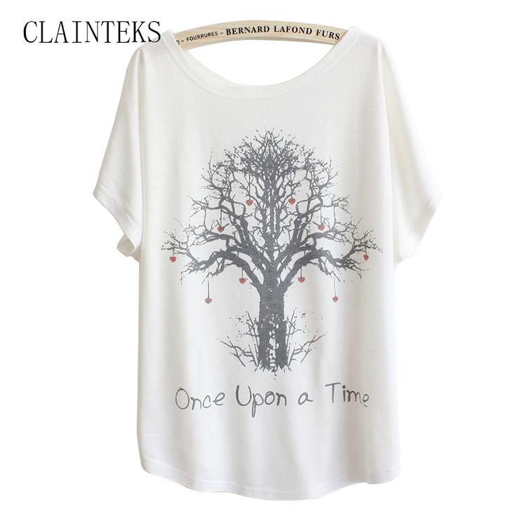 CLAINTEKS Apparel White Batwing T Shirt Women Japanese Tops Summer Short Sleeve Loose Love Tree Print T-shirt 2017
