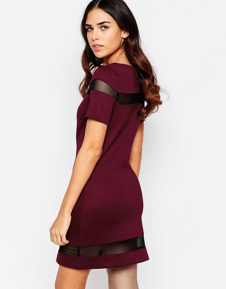 Amy Childs Suki Shift Dress with Mesh Inserts - Purple