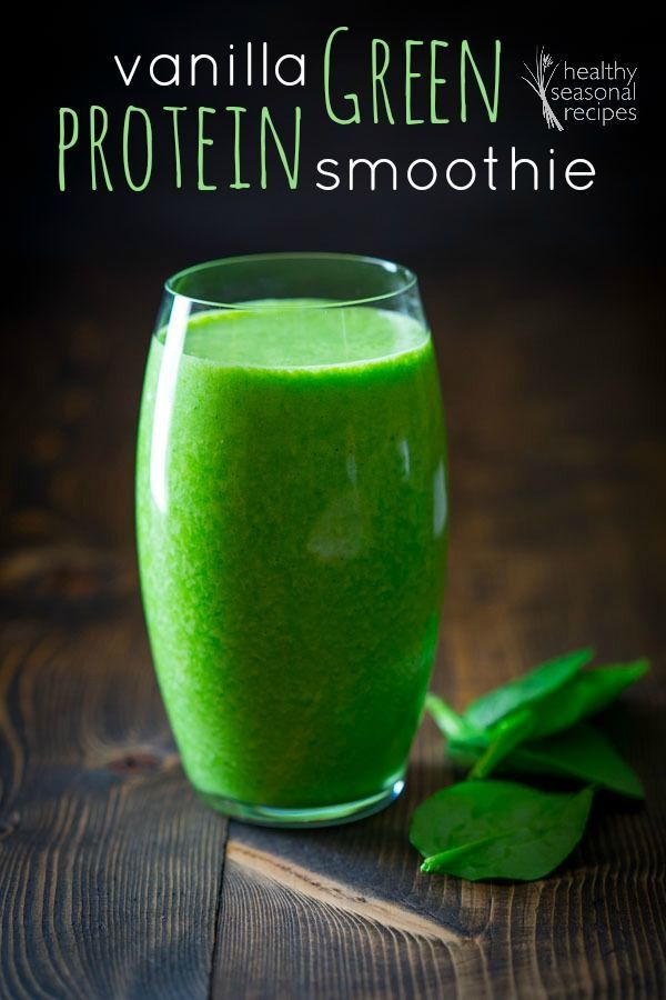 Vanilla Green Protein Smoothie on Healthy Seasonal Recipes: 1 small ripe banana, peeled and broken in half 1 cup unsweetened almond milk 1 cup fresh baby spinach 1 serving vanilla protein powder (1/2 to 1 scoop) 1/2 cup ice