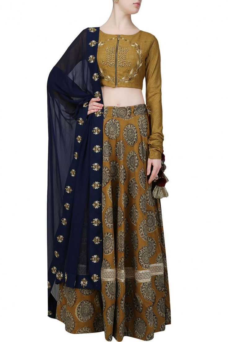 Mustard embroidered blouse and high waisted lehenga skirt set - Natasha J