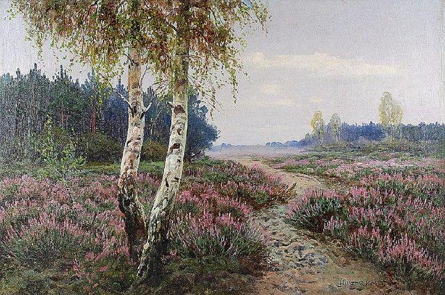 Wiktor KORECKI (1890-1980)  Wrzosy olej, płótno dublowane; 64,5 x 95 cm; sygn. p. d.: WIKTOR KORECKI