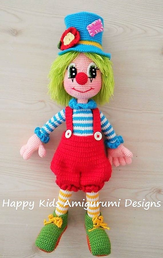 Cute Mr.Clown-2 This is a crochet pattern and not the toy.This is downladable…