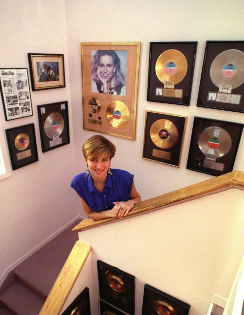 Debbie Gibson at her Lloyd Neck home home in 1991 surrounded by some of her gold…