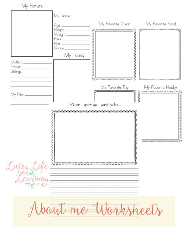 Free About Me Worksheets   Get a free download of these About Me worksheets for kids.