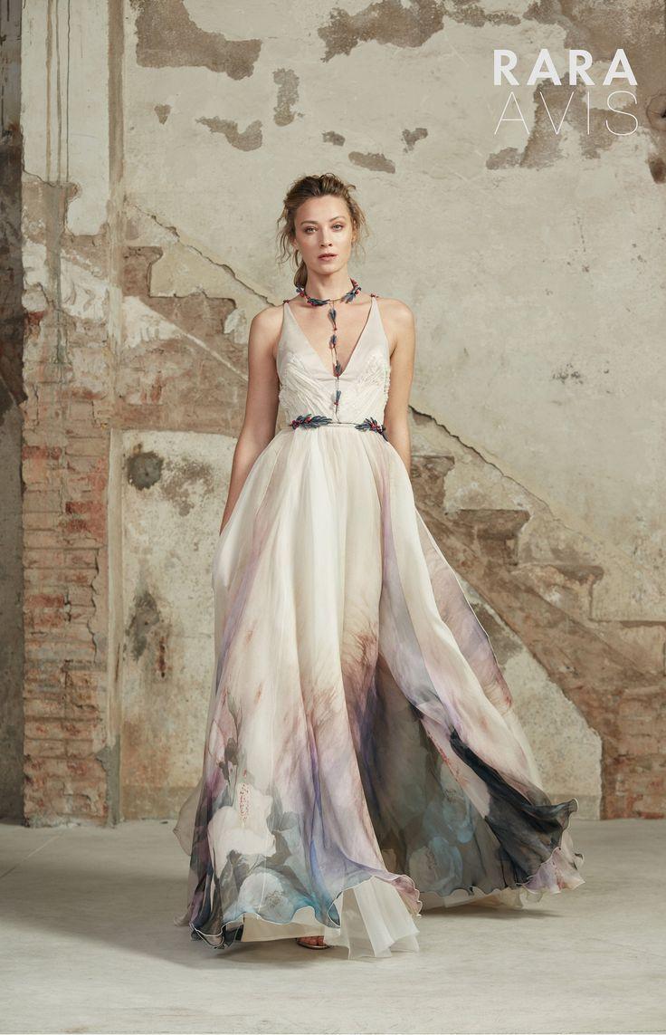 Aline silk floaty wedding dress rozal with long train