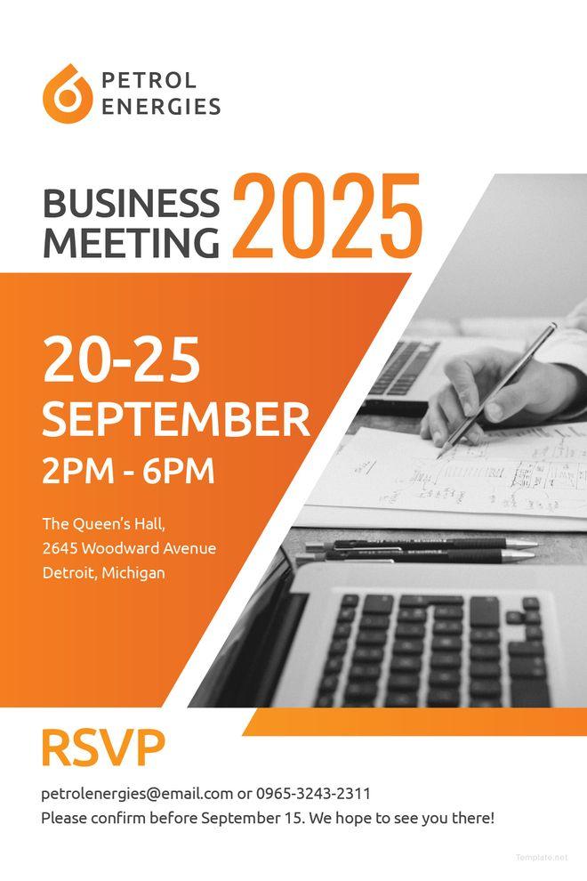 Free Professional Business Meeting Invitation Ysl Training