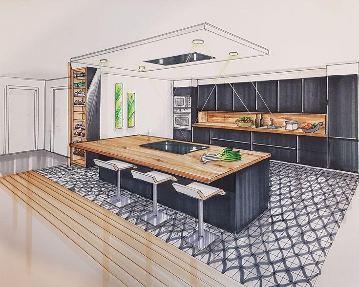 Ilot Central Cuisine Fait Maison Bocetos De Diseno De Interiores Dibujo Arquitectonico De Interiores Bocetos Arquitectura