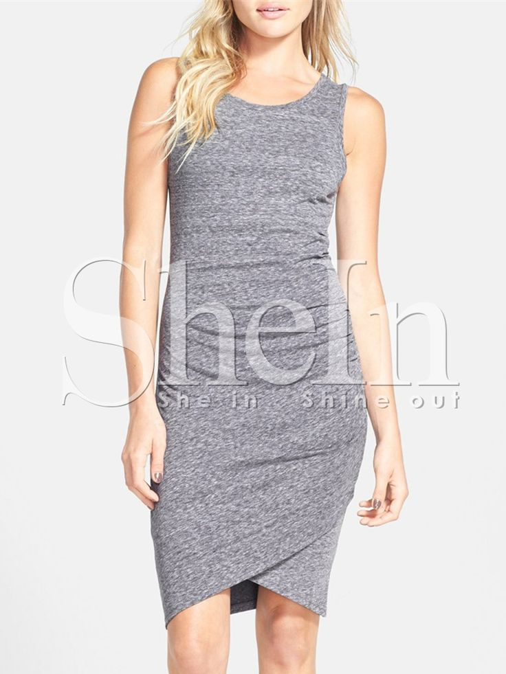 Grey Sleeveless Ruched Wrap Front Dress -SheIn