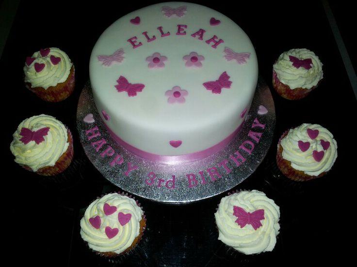 "7"" vanilla sponge with 6 matching cupcakes"