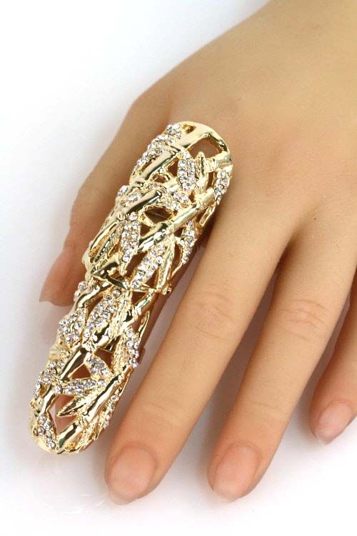 25 rhinestone leaf full finger ring ring bracelet slave bracelet handpiece pinterest. Black Bedroom Furniture Sets. Home Design Ideas