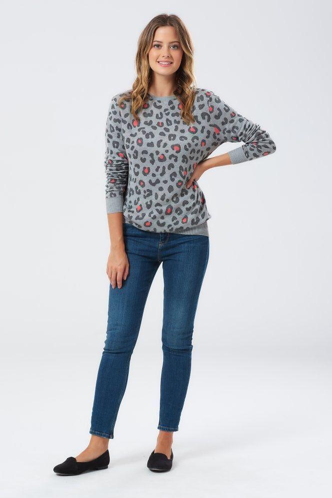 843eeede4731 Callie Leopard Sports Stripe Grey Sweater | Love // Animals in 2019 ...