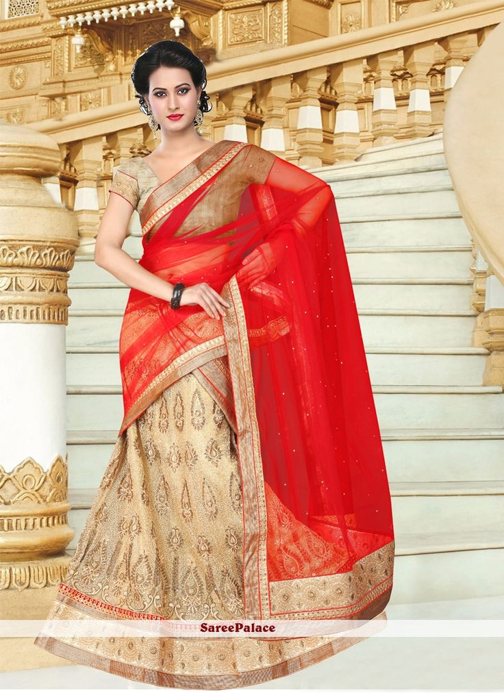 Aristocratic Embroidered Work Red and Beige A Line Lehenga Choli