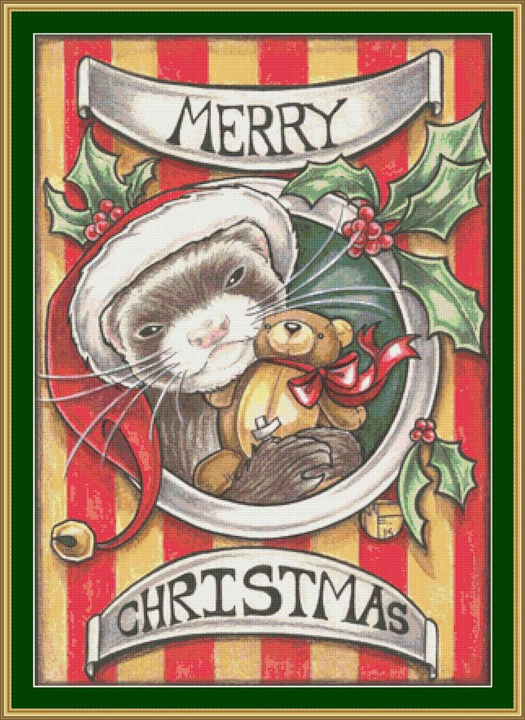 Christmas Ferret cross stitch pattern -  modern counted cross stitch - Licensed Natalie Ewert by UnconventionalX on Etsy