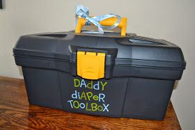 I did this for a shower today!  What dad wants to carry a diaper bag! It's much cooler to have a toolbox!