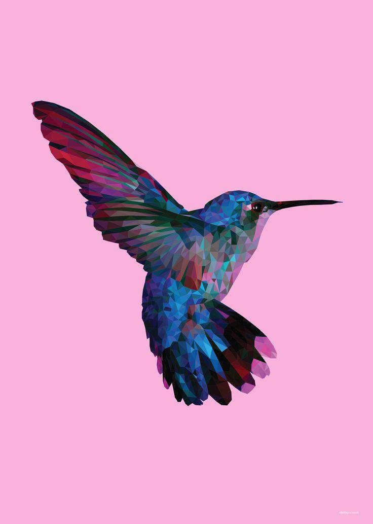 Low Poly Pink Hummingbird