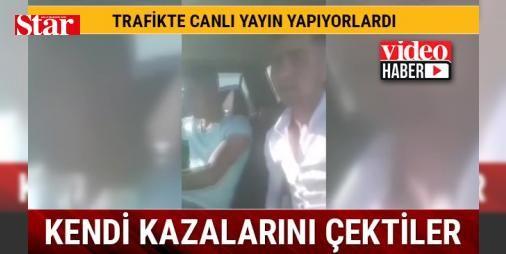 Bitlis'in Tatvan ilçesinde trafikte canlı yayın yapan gençler kaza geçirdi: Bitlis'in Tatvan ilçesinde araçla seyir halinde olan iki genç sosyal paylaşım sitesi olan facebook üzerinden canlı yayın yaptıkları sırada trafik kazası geçirdi.