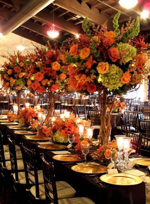 Large and abundant Fall Wedding centerpiece  Great decor. Adding it to our wedding centerpiece ideas board!