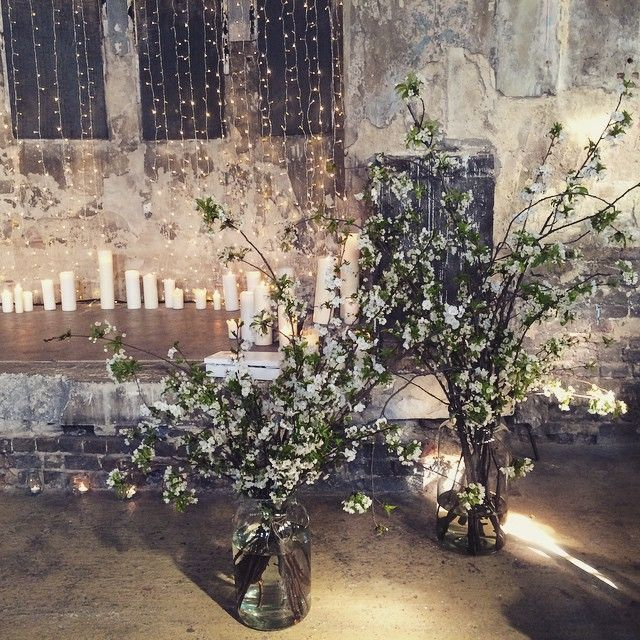 Large blossom arrangements for a London wedding at the Asylum in Peckham by the…