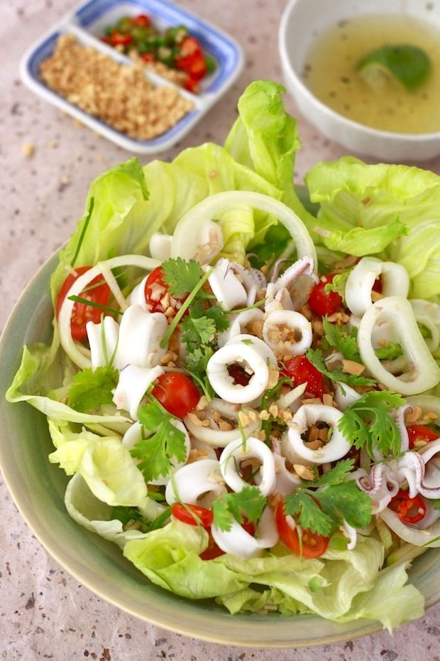 Thai Squid Salad with Spicy Lime Dressing Visit  http://cookingwithtricia.ca - for Healthy International Recipe site #recipe