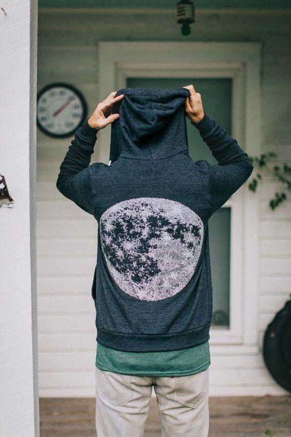Full MOON zip hoodie. unisex sweatshirt. men or by blackbirdtees