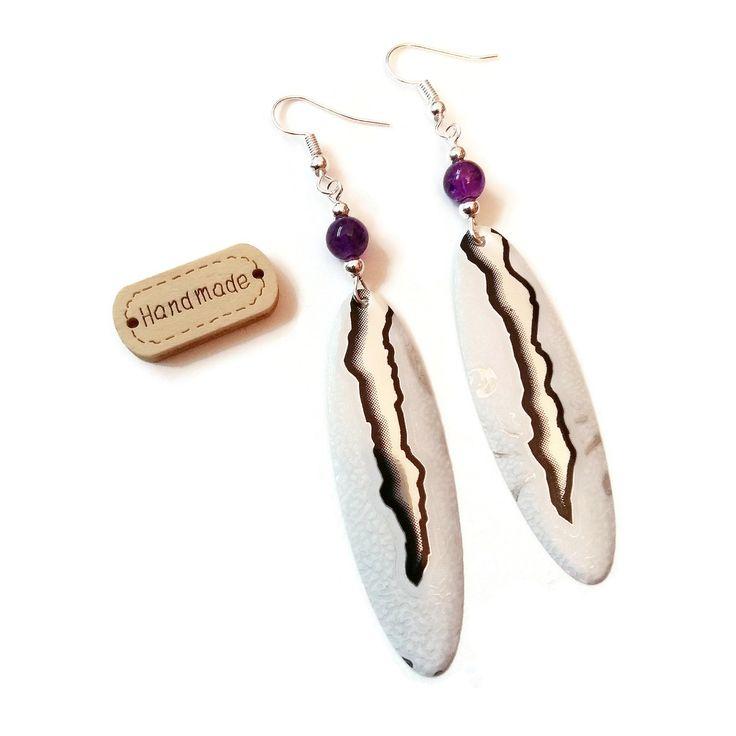 Boucles d'Oreilles Gouttes - Canettes Recyclées Monster - Perles en Verre - Blanches Violettes Argentées : Boucles d'oreille par cap-and-pap