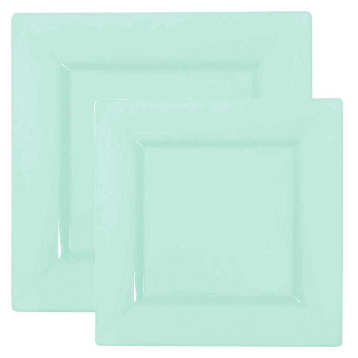 7974 Quad Mint Green Plastic Dinnerware Value Set