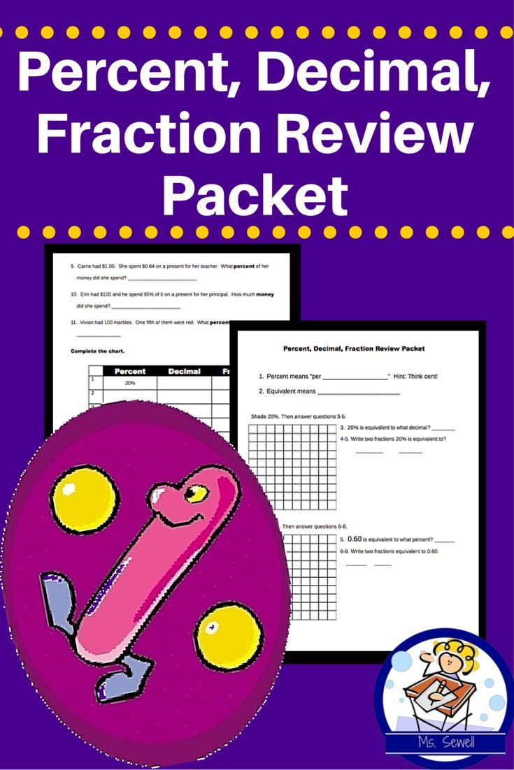 In this packet that reviews the link between fractions  decimals and percents  students begin by shading a 100s square to visualize the number  They then convert among the three units   Practice questions and a conversion table are included
