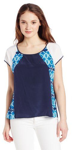 Rebecca Minkoff Women's Baseball Short Sleeve Batik Colorblock Top on http://stylecom.shopstyle.com