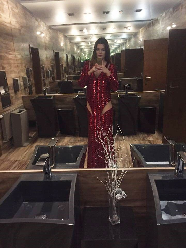 red dress designer Gabriela Hezner models - client Jagoda Starba contact gabrielahez6@gmai...