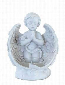 Cherub T-Light Candle Holder Grave Ornament - Cherub In Prayer.