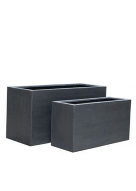 "31.5"" grey fiberstone rectangular planter $120 jamaligarden.com (also white available)"