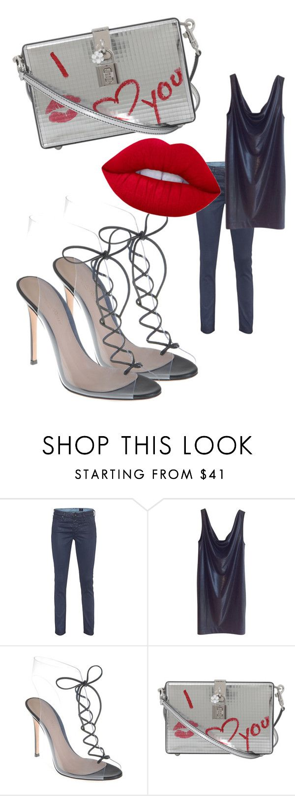 """""""Street Style"""" by viktoria-kot ❤ liked on Polyvore featuring AG Adriano Goldschmied, COS, Gianvito Rossi, Dolce&Gabbana and Lime Crime"""