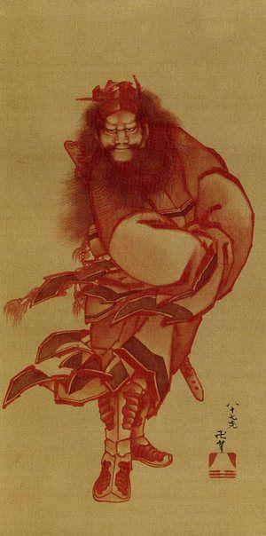 Shōki painted in red by Katsushika Hokusai