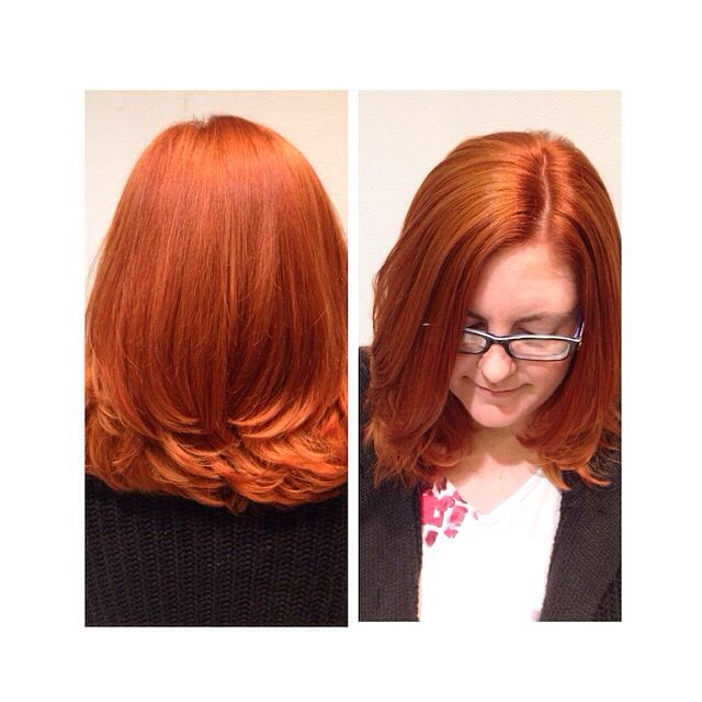 Vibrant copper color using Goldwell hair color and cut by Master Stylist Jamie with Carlton Hair Brea IG: @jamisonsayshello