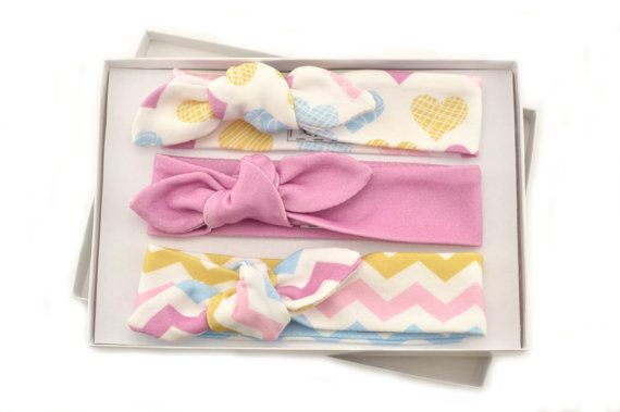 Baby Girl Headband Set/ Set of 3 Headbands/Organic Baby Headbands/Knotted Headbands/ Heart,Zigzag Headbands. This collection includes: 1-