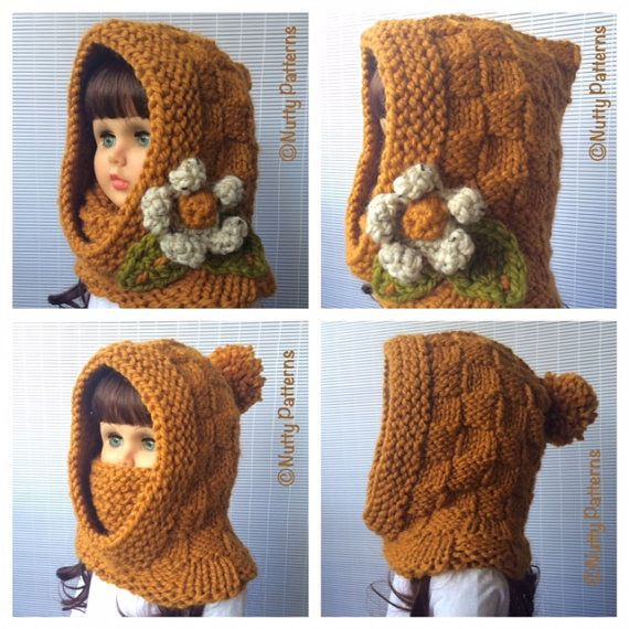 Free Knitting Pattern Hooded Neck Warmer : Knitting Pattern * Dakota Hood with cowl * Instant ...