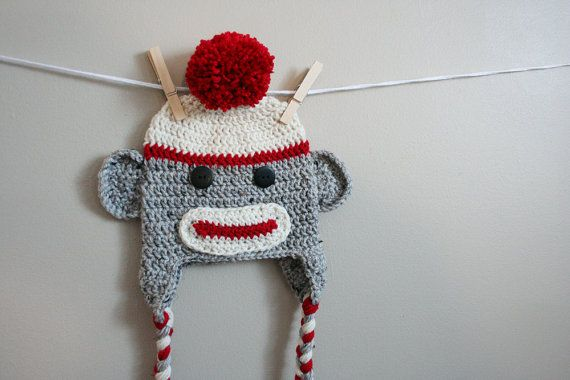 Sock monkey hat, adult sock monkey hat, crochet monkey hat adult, red cream and gray, Adult sizes available on Etsy, $30.00