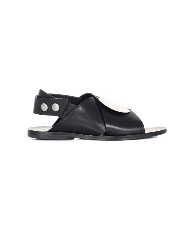 DAMIR DOMA LEATHER SANDALS S/S 2016 Black leather  braided sandals with metal details leather sole back press-stud closure 100% Leather
