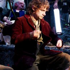 Bilbo Baggins on the drums - who knew hobbits could be rock stars? #Bilbo #hobbit #music